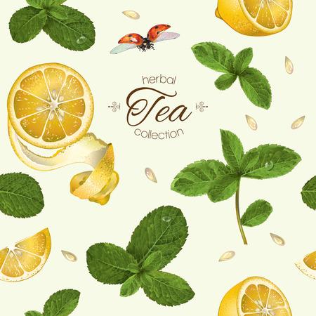 レモンとミントとフルーツ ティー シームレス パターン。お茶、アロマセラピー、化粧品、食料品、ヘルスケア製品の背景デザイン。布、繊維、包  イラスト・ベクター素材