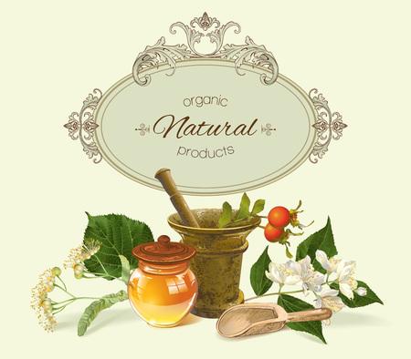 mortero: cuidado de la salud de la vendimia con mortero, miel y plantas curativas. Diseño de té de hierbas, cosméticos naturales, productos para el cuidado de la salud, la homeopatía, la aromaterapia. Con lugar para el texto.