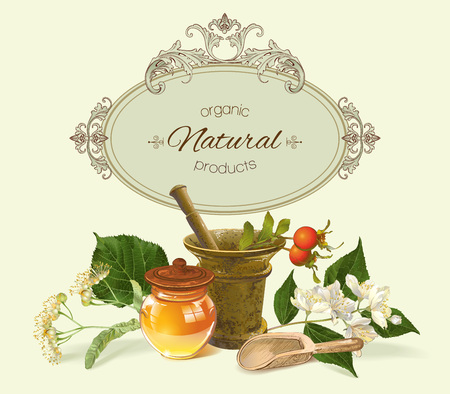 vintage health care  with mortar,honey and healing plants. Design for herbal tea, natural cosmetics, health care products, homeopathy, aromatherapy. With place for text. Stock Illustratie