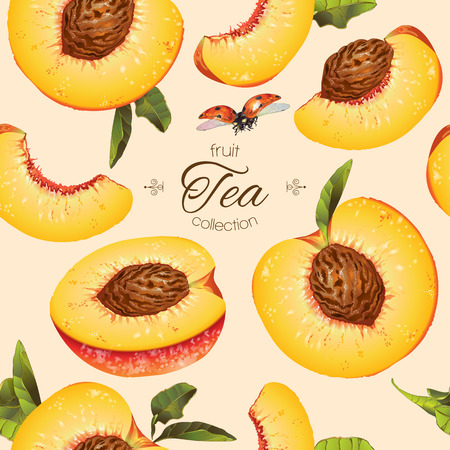 textile care: peach seamless pattern. Background design for tea, ice cream, natural cosmetics, candy and bakery with peach filling, health care products. Best for textile, wrapping paper.