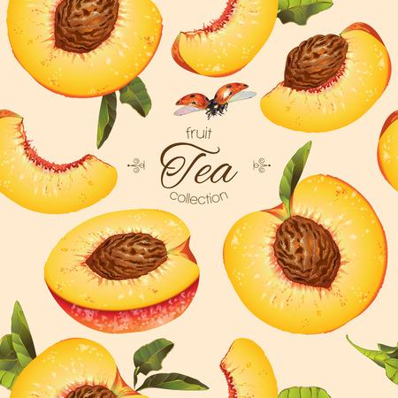 pesco seamless. Disegno di sfondo per il tè, gelati, cosmetici naturali, caramelle e prodotti da forno con ripieno di pesca, prodotti per la cura della salute. Meglio per tessile, carta da imballaggio. Vettoriali