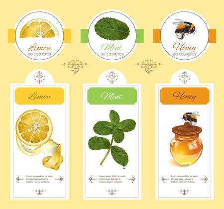 productos naturales: cosmética natural con limón, menta y miel. Diseño para la cosmética natural, tienda de belleza, salón de belleza, productos para el cuidado de la salud orgánicos, comestibles, homeopatía, aromaterapia. Vectores