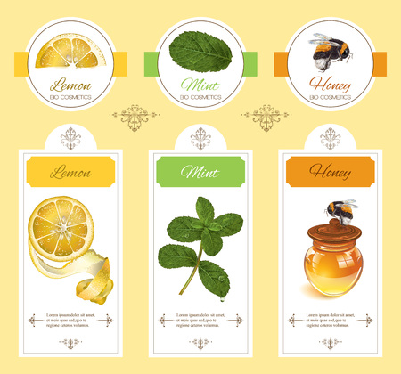 homeopathy: natural cosmetic with lemon, mint and honey. Design for natural cosmetics, beauty store, beauty salon, organic health care products, grocery, homeopathy, aromatherapy.
