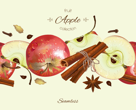 apple cinnamon: apple and cinnamon seamless . Background design for tea, juice, natural cosmetics, sweets and bakery with apple filling, farmers market,health care products. With place for text. Illustration