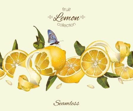 citroen naadloze horizontale grens. Ontwerp voor thee, ijs, jam, natuurlijke cosmetica, snoep en bakkerij met citroen vulling, producten voor de gezondheidszorg, parfum. Best for packaging design.