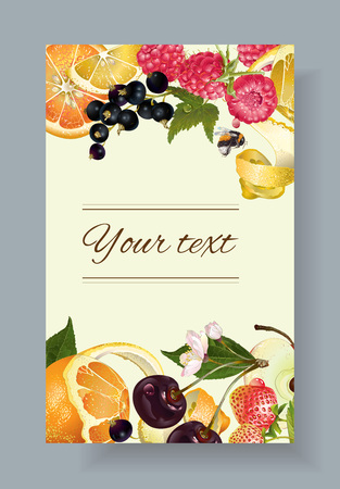 fruit and berry banner. Design for juice, tea, ice cream, jam, natural cosmetics, sweets and pastries filled with fruit, dessert menu, health care products. With place for text Illustration