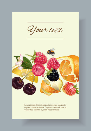 cream filled: fruit and berry banner. Design for juice, tea, ice cream, jam, natural cosmetics, sweets and pastries filled with fruit, dessert menu, health care products. With place for text Illustration
