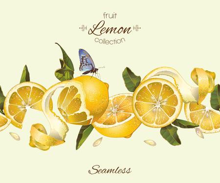 레몬 원활한 가로 테두리입니다. 레몬 충전, 건강 관리 제품, 향수 차, 아이스크림, 잼, 천연 화장품, 사탕과 빵집을위한 디자인. 포장 디자인에 적합합