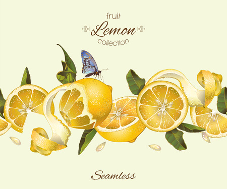 lemon seamless horizontal border. Design for tea, ice cream, jam, natural cosmetics, candy and bakery with lemon filling, health care products, perfume. Best for packaging design. Stok Fotoğraf - 61633015