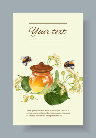 homeopathy: linden honey banner with bumblebees. Design for herbal tea, natural cosmetics, honey, health care products, homeopathy, aromatherapy. With place for text Illustration