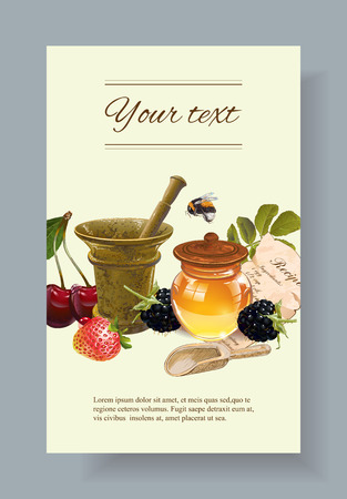 homeopathy: fruit and berry cosmetic banner with honey and mortar. Design for natural cosmetics, health care products, aromatherapy, homeopathy, grocery. With place for text