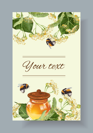 linden honey banner with bumblebees. Design for herbal tea, natural cosmetics, honey, health care products, homeopathy, aromatherapy. With place for text Ilustração