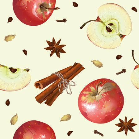 homeopathic: apple seamless pattern. Background design for tea, juice, natural cosmetics, sweets and candy with apple filling, farmers market,health care products.
