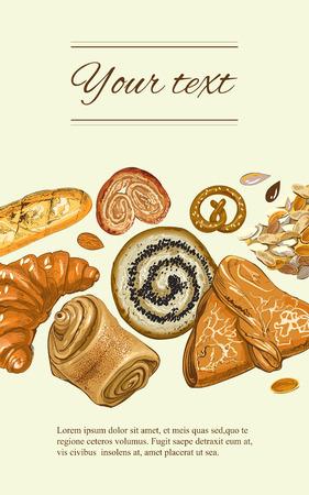 recipe book: bakery vertical banner. Design for grocery, bakery, dessert menu, pastry shop, recipe book, cooking manual Illustration