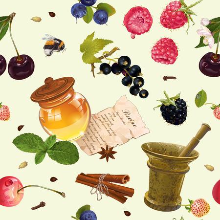 fruit en bessen cosmetische naadloze patroon met honing en mortel. Ontwerp voor natuurlijke cosmetica, producten voor de gezondheidszorg, aromatherapie, homeopathie, receptenboek. Stock Illustratie