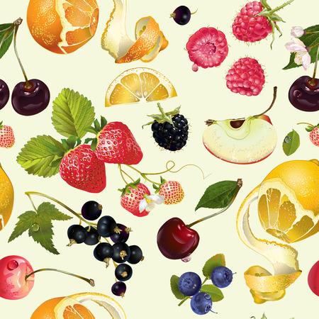 fruit en bessen naadloos patroon. Achtergrond ontwerp voor sap, thee, ijs, natuurlijke cosmetica, snoep, gebak gevuld met fruit, dessert menu, producten voor de gezondheidszorg.