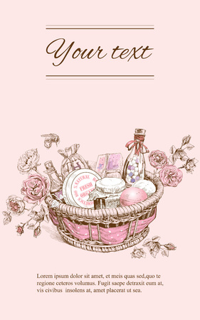 Vector rose cosmetic vertical banner with basket.Sketch graphic style.Design for natural organic cosmetics,make up, store, beauty salon, products, health care products,aromatherapy.With place for text