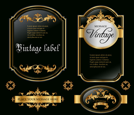 aristocratic: Vector vintage gold framed labels set. Golden on black. Baroque style premium quality label collection. Best for chocolate, cocoa, alcoholic beverages and tobacco. Vector illustration