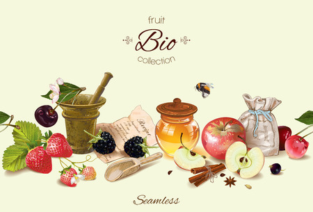 Vector fruit and berry cosmetic border with honey and mortar. Design for natural cosmetics, health care products, aromatherapy, homeopathy, recipe book. With place for text