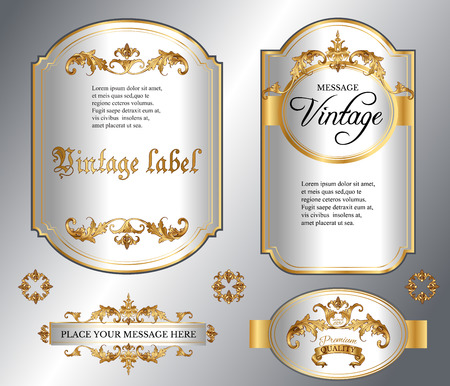 Vector vintage gold framed labels set. Golden on white. Baroque style premium quality label collection. Best for chocolate, perfume, luxury beauty care products, alcoholic beverages and tobacco.