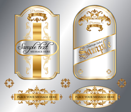 gold ornaments: Vector vintage gold framed labels set. Golden on white. Baroque style premium quality label collection. Best for chocolate, perfume, luxury beauty care products, alcoholic beverages and tobacco.