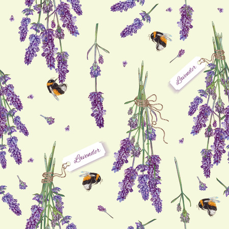 Lavender flowers seamless pattern with bees. Design for cosmetics, make up, store, beauty salon, natural and organic products, health care products,aromatherapy. Best for print, fabric, wrapping paper Иллюстрация