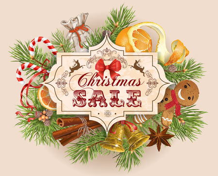 Christmas sale vintage with traditional decoration, Christmas tree branches and sweets. Design for any kind of products. Best for clothes, sweets, chocolate, cosmetics, tea and coffee.