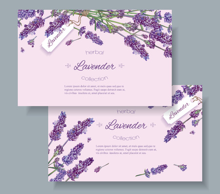 Lavender natural cosmetics horizontal banners on lilac background. Design for cosmetics, store, beauty salon, natural and organic products, health care products,aromatherapy.illustration