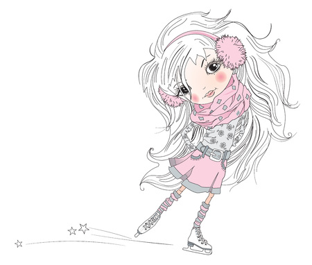 illustration of cartoon pretty little girl. Child with beautiful white hair is skating isolated on white. Best design for children