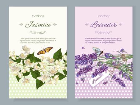 Naturkosmetik vertikal mit Blumen. Design für Kosmetik, Geschäft, Beauty-Salon, natürliche und organische Produkte, Pflegeprodukte, Aromatherapie. Mit Platz für Text