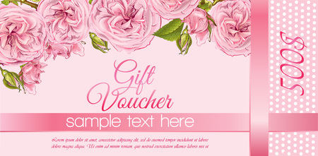 natural cosmetics gift voucher with flowers. Design for cosmetics, store, beauty salon, natural and organic products, health care products, aromatherapy. With place for text
