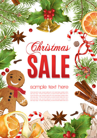 Christmas sale with traditional decoration, Christmas tree branches and sweets. Design for any kind of products. Best for clothes, sweets, chocolate, cosmetics, tea and coffee