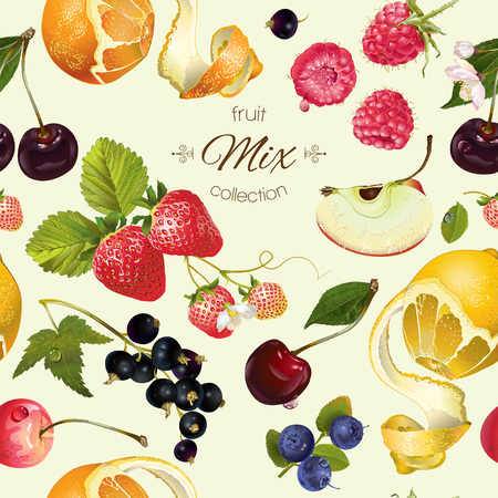 fruit and berry seamless pattern. Background design for juice, tea, ice cream,natural cosmetics, sweets, pastries filled with fruit, dessert menu, health care products. Best for wrapping paper