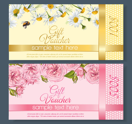 vouchers: natural cosmetics gift vouchers with flowers. Design for cosmetics, store, beauty salon, natural and organic products, health care products, aromatherapy. With place for text