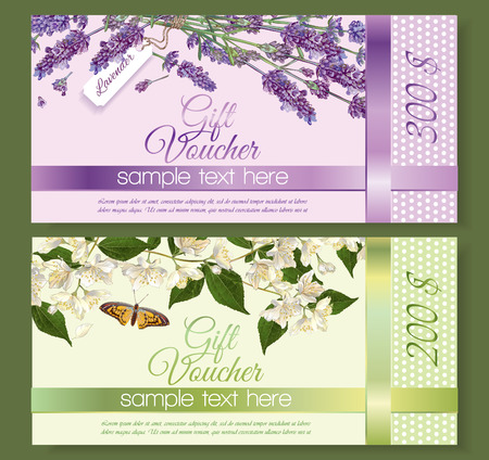 natural cosmetics gift vouchers with flowers. Design for cosmetics, store, beauty salon, natural and organic products, health care products, aromatherapy. With place for text