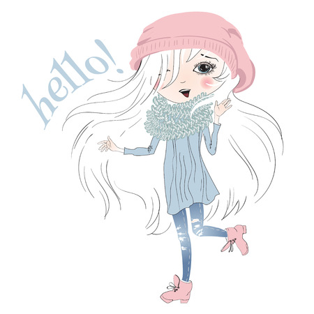 winter girl: illustration of pretty little girl isolated on white. Cartoon sketch style Girl with beautiful white hair says hello. Best for T shirt print Illustration