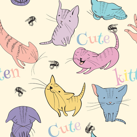 resentful: sketch style cute little kittens seamless pattern. Doodle funny characters isolated on white background. Best for T-shirts print.