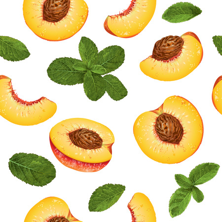 Vector peach and mint seamless pattern. Background design for tea, ice cream, natural cosmetics, candy and bakery with peach filling, health care products. Best for textile, wrapping paper. Çizim