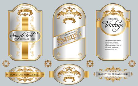 Vector vintage gold framed labels set. Golden on white. Baroque style premium quality label collection. Best for chocolate, cocoa, alcoholic beverages and tobacco. Vector illustration