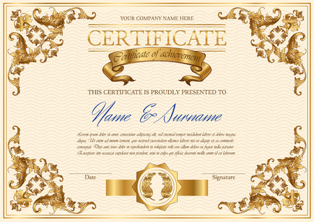 Vector detailed vintage style certificate of achievement. Elegant royal design for completion, appreciation or achievement certificates. Only free fonts used. Font name included in the layers