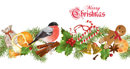 Vector Christmas seamless border with traditional decoration, Christmas tree branches and bullfinch. Design for any kind of products. Best for clothes, sweets, chocolate, cosmetics, tea and coffee