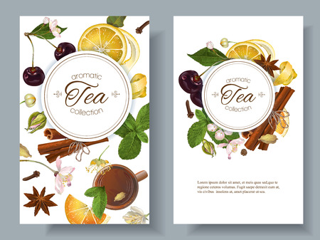 Vector aromatic tea banners with cherry, lemon and cinnamon. Design for tea shop, drinks menu, baking, candy and sweets, health care products, aromatherapy. Best for tea packaging design Illusztráció