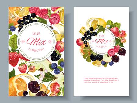 Vector Obst und Beeren-Banner. Entwurf für Saft, Tee, Eis, Marmelade, Naturkosmetik, Süßigkeiten und Gebäck gefüllt mit Obst, Dessertkarte, Gesundheitspflegeprodukte. Mit Platz für Text