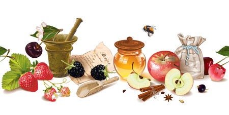 homeopathy: Vector fruit and berry cosmetic seamless border with honey and mortar. Design for natural cosmetics, health care products, aromatherapy, homeopathy, recipe book. With place for text