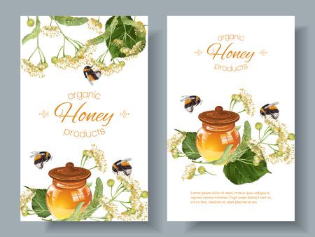 Vector de linden banderas de miel con abejorros. Diseño de té de hierbas, cosméticos naturales, miel, productos de cuidado de la salud, la homeopatía, la aromaterapia. Con lugar para el texto