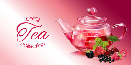 homeopathy: Vector fruit tea banner with transparent teapot and berries. Design for red and fruit tea, drink menu, homeopathy, aromatherapy and health care products. With place for text.
