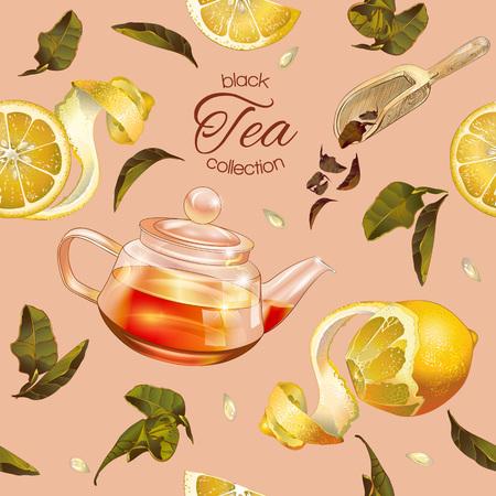 黒茶のシームレスなパターンをベクトル透明急須、茶葉レモンと。ブラックやフルーツ ティーのデザイン、メニューのホメオパシー、アロマセラピ  イラスト・ベクター素材