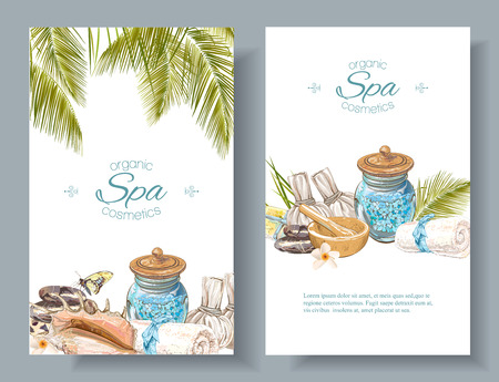 Vector spa treatment accessories vertical banners with palm leaves, shell and massage bags. Design for natural cosmetics, store, spa and beauty salon, organic health care products. With place for text