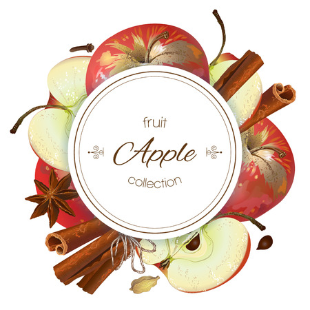 Vector apple cinnamon round banner. Design for juice, tea, ice cream, lemonade, jam, natural cosmetics, sweets and pastries filled with lemon, dessert menu, health care products. With place for text
