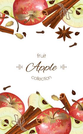 Vector Apfel-Zimt-Banner. Entwurf für Saft, Tee, Eis, Limonade, Marmelade, Naturkosmetik, Süßigkeiten und Gebäck gefüllt mit Zitrone, Dessertkarte, Gesundheitspflegeprodukte. Mit Platz für Text